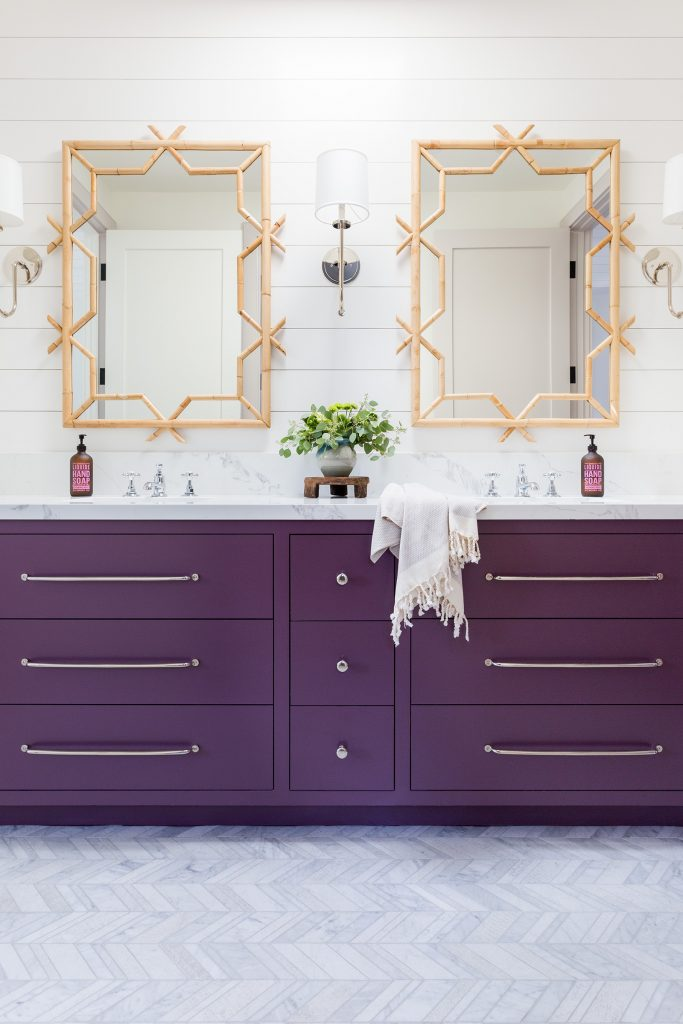 bathroom Design with purple vanity by Kate Lester Interiors. Photo by Amy Bartlam.