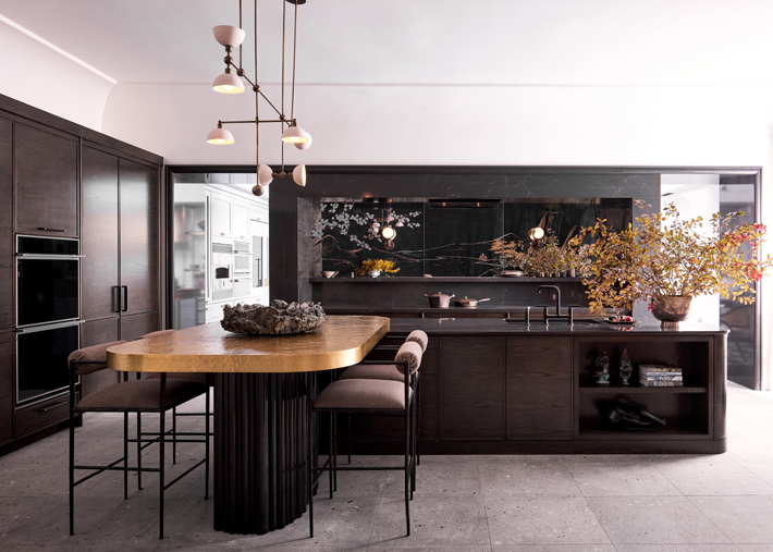 gold and brown kitchen by chad dorsey design