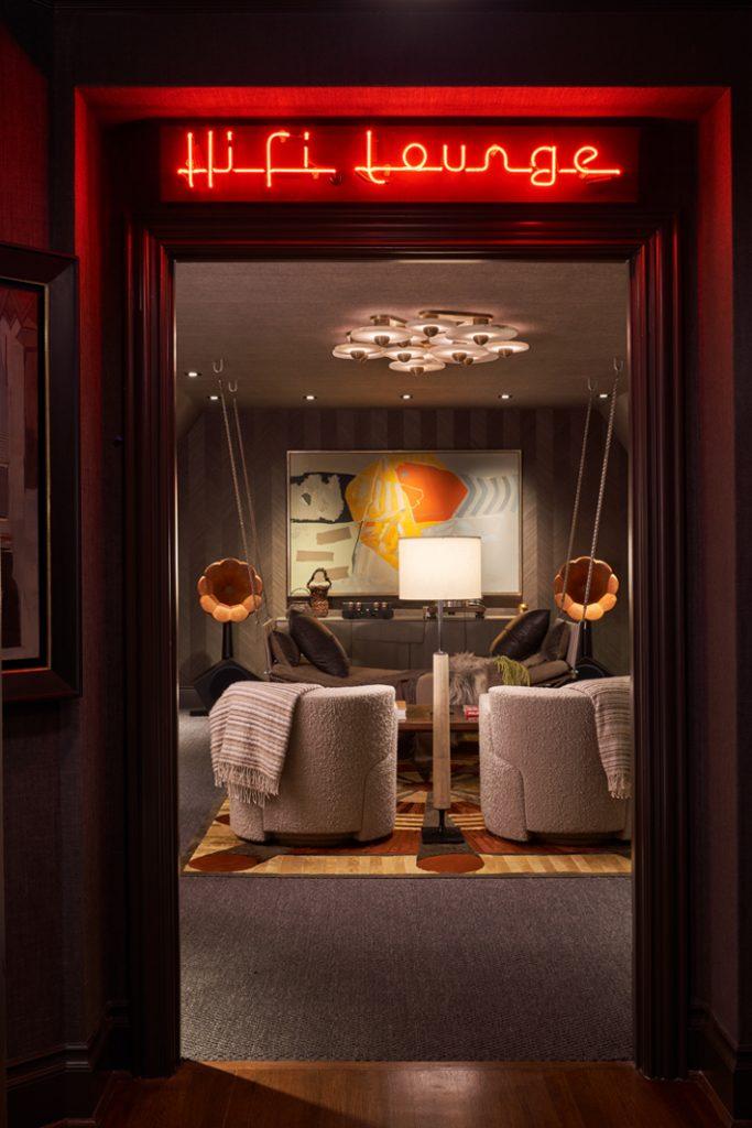 Upstairs Media Room & Hall by Cravotta Interiors kips bay decorator show house dallas 2020