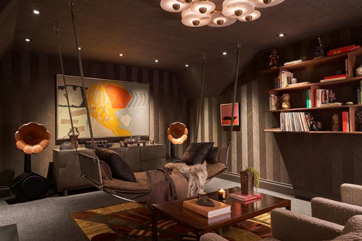 Upstairs Media Room & Hall by Cravotta Interiors