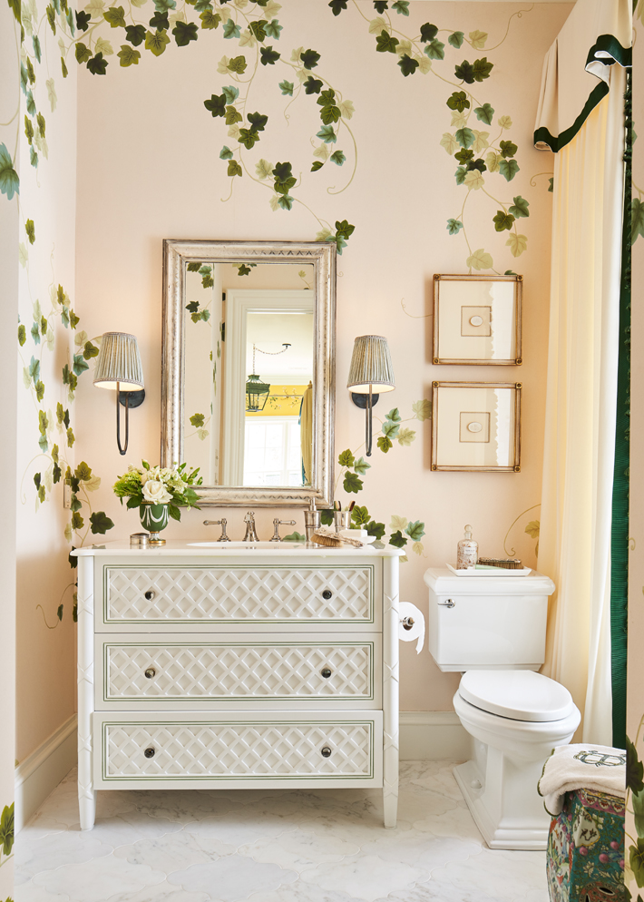 Downstairs Bedroom bath with vine wallpaper by Dina Bandman Interiors