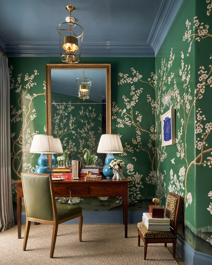 Back Staircase & Downstairs Landing by M Interiors with green chinoiserie wall paper