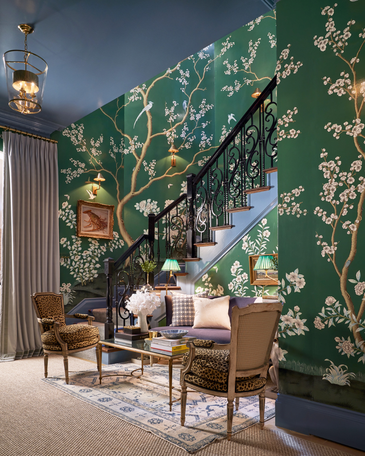 Back Staircase & Downstairs Landing by M Interiors with green chinoiserie wallpaper kips bay decorator show house dallas 2020