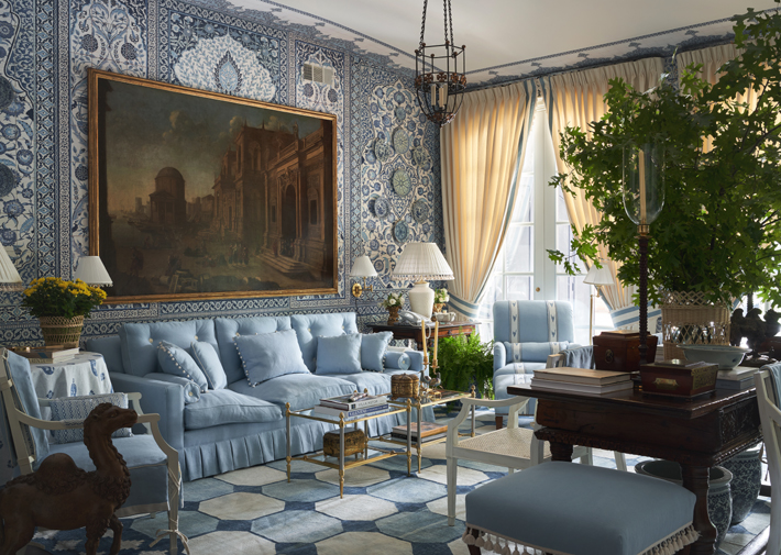 blue and white living room by mark d sikes interiors