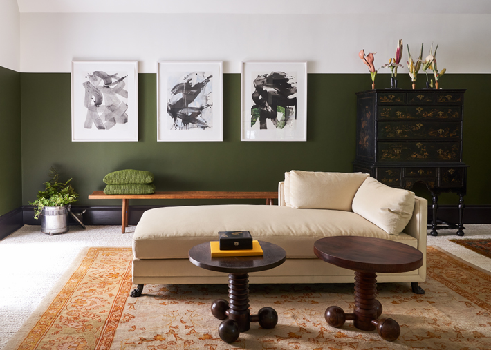 green and tan family room design by viviano viviano