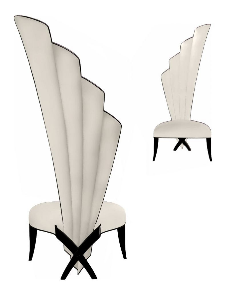 white fan Lucia Droite chairs christopher guy