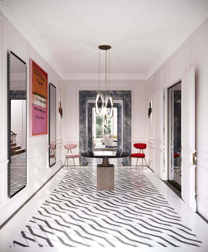 townhouse foyer design by maison arabella