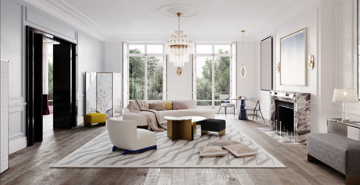 Maison Arabella Townhouse Living Room blue and white contemporary