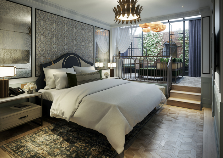 Guest room at The Mayfair Townhouse, London, design by Goddard Littlefair