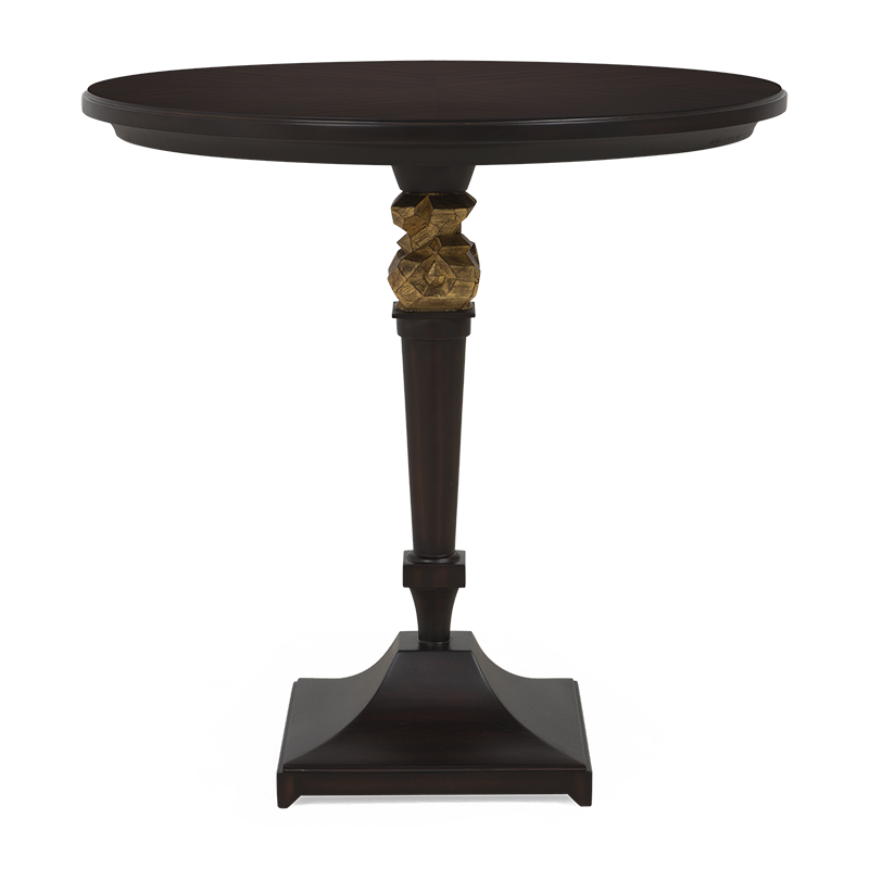 A sublime bistro/side table with a hand-carved sculptured centerpiece and veneer top.