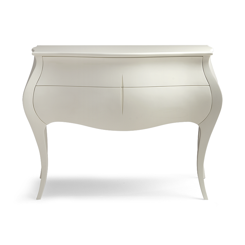 An exquisite cabinet available in two forms, as a larger sideboard or petit nightstand with curvaceous cabriole legs, featuring two generous drawers and the carved signature Silk Cut.