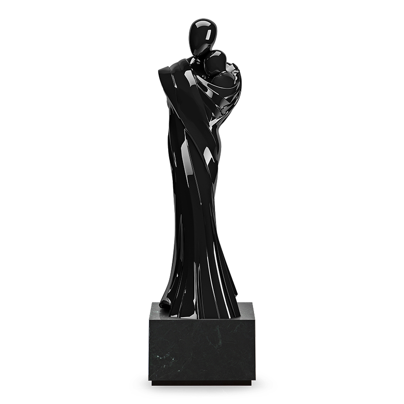 Limited Edition - The power of love features in this life-sized sculpture crafted in hand-beaten aluminum finished in lacquer. Its seamless joint lines are masterly crafted into shrouded folds making this an exceptional piece of artwork.