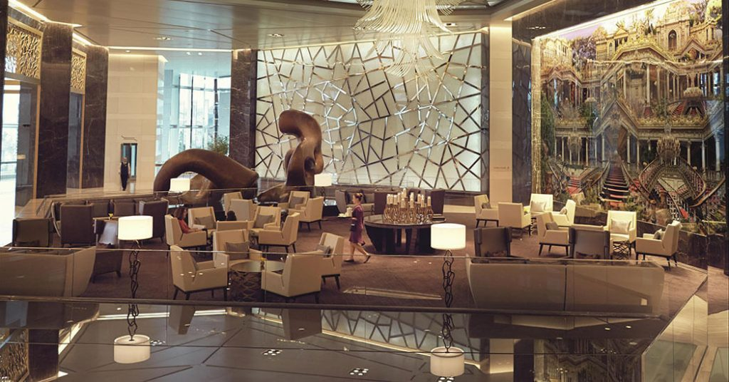 Lobby at the Raffles Istanbul, design by HBA