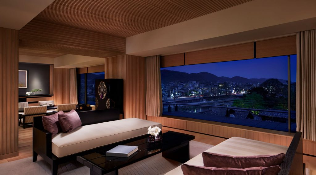 Corner Suite living room at The Ritz-Carlton Kyoto, design by Peter Remedios Studios