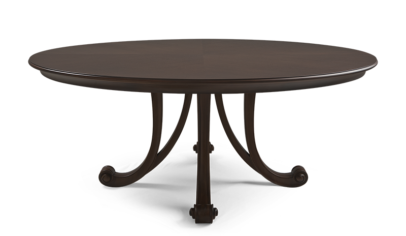 Add a touch of grandeur to a dining space with this round dining table, symbolic of fine craftsmanship and refined splendor.