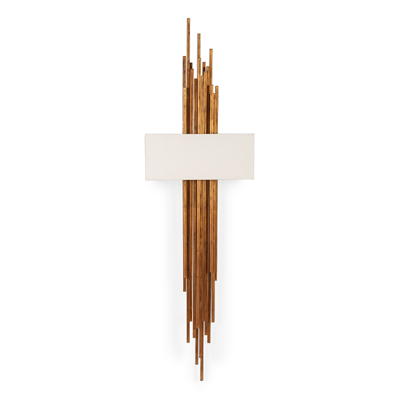 A handsomely arranged mélange of forged metal lengths, in an abstract cross-layered silhouette form this striking wall-light sconce.