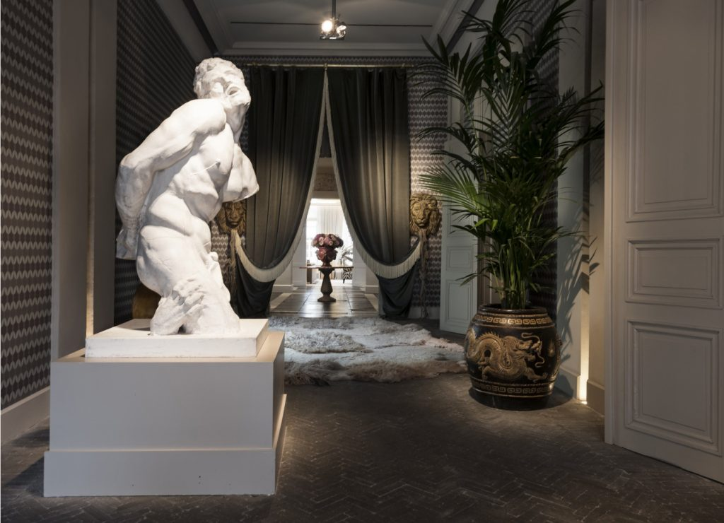 Lobby at the Van Cleef Hotel in Bruges, Belgium designed by owner Pascale Vanhaecke-Marcantuoni