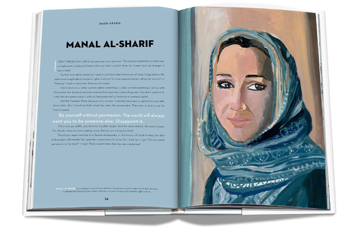 Vital Voices: 100 Women Using their Power to Empower book spread featuring Manal Al-Sharif, Illustration by Gayle Kabaker