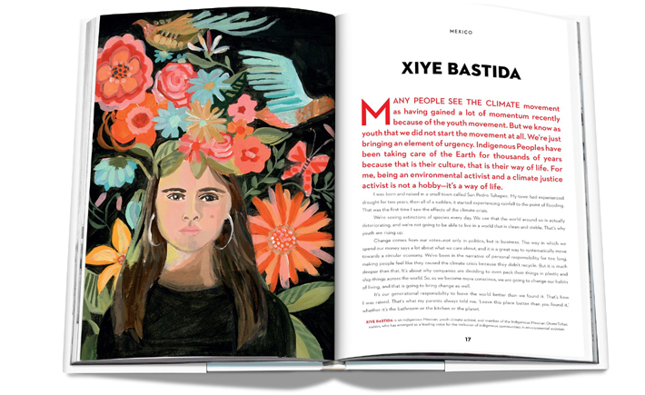 Vital Voices: 100 Women Using their Power to Empower book spread featuring Xiye Bastida, Illustration by Gayle Kabaker
