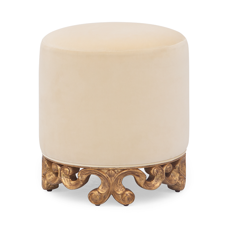 Delicate and refined, this exceptional hand-carved ottoman makes a delightful accompaniment to a room. luxury pouf