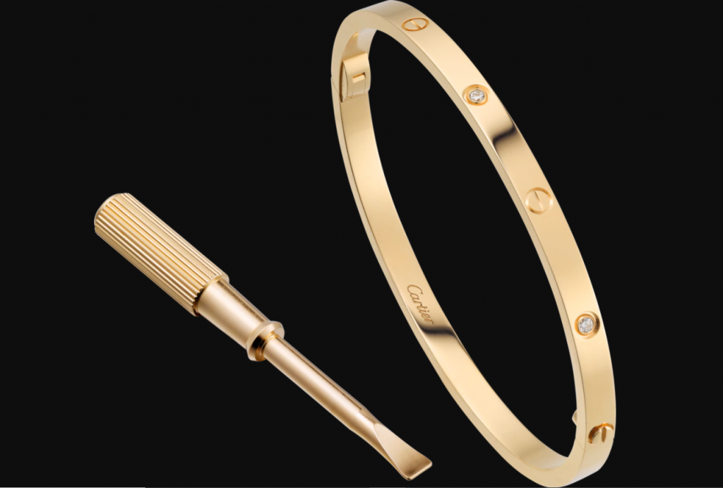 yellow gold cartier love bracelet with screw driver