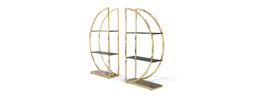 decadence bookcase koket gold round