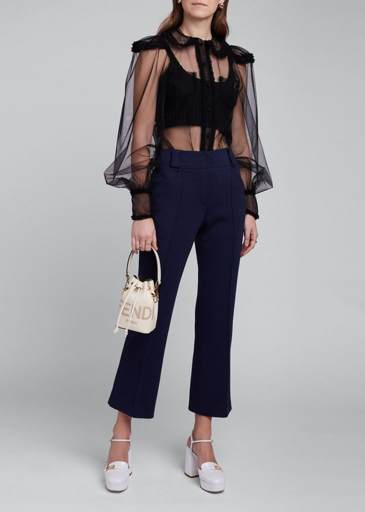 how to style a sheer to - FENDI Tulle Puff-Sleeve Shirt over crop top