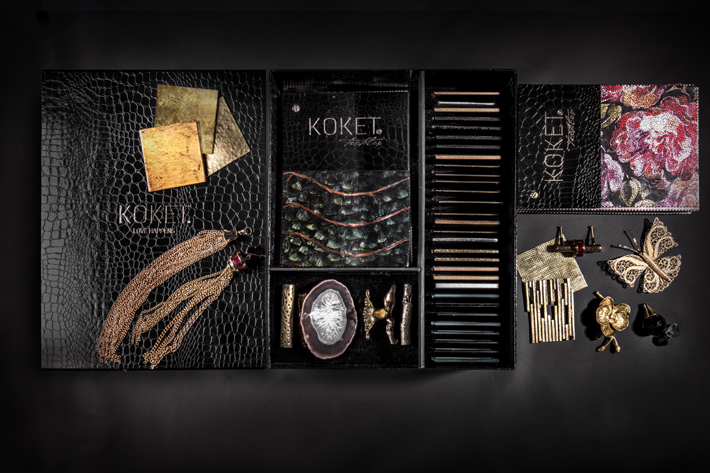 KOKET sample box - samples of feathers, jewels, agate, textiles