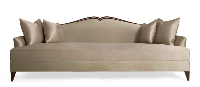 luxury furniture sarina sofa with hand-carved wood detail on back