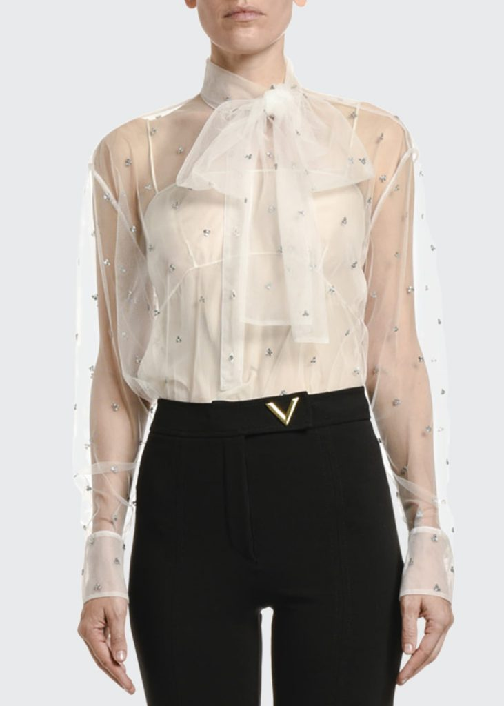how to style a sheer top over a camisole - VALENTINO Jeweled Tulle Bow-Neck Blouse
