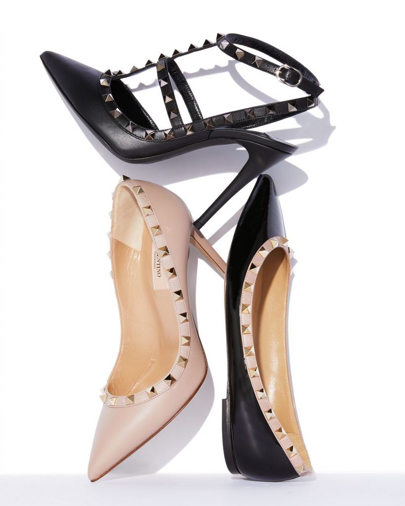 iconic fashion pieces shoe designs Valentino Rockstud sling backs, pumps and flats