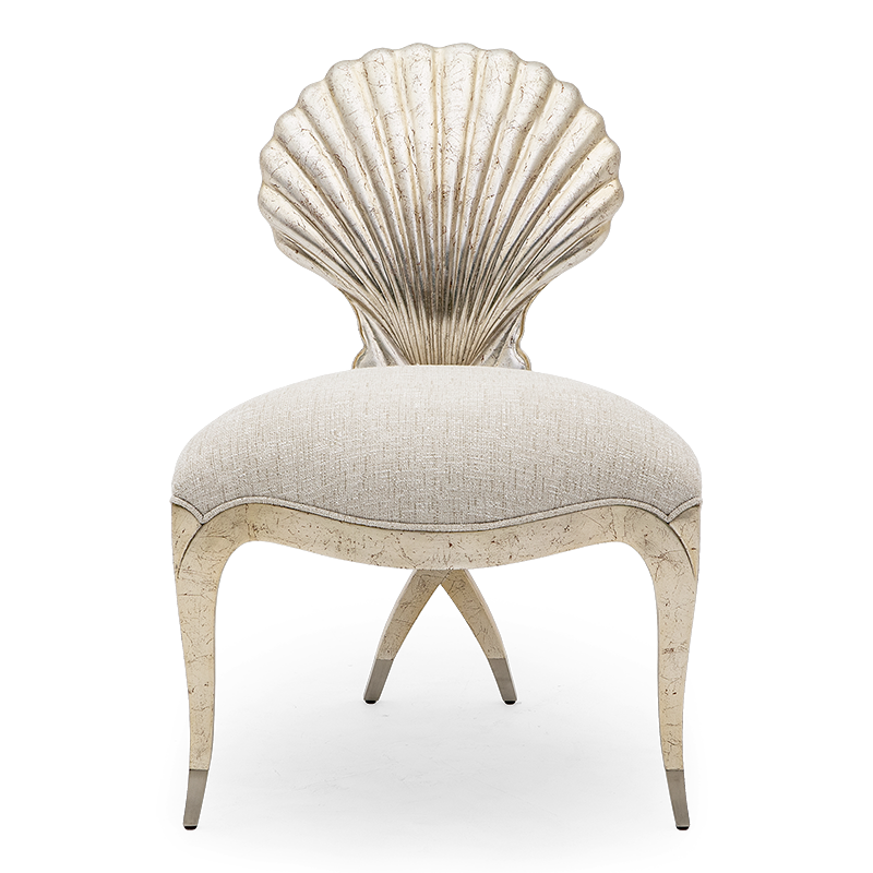 With a beauty worth of Venus herself, this metal finish tipped legs and shell-backed Chris-Cross boudoir chair is the ultimate accent piece for a classic interior.