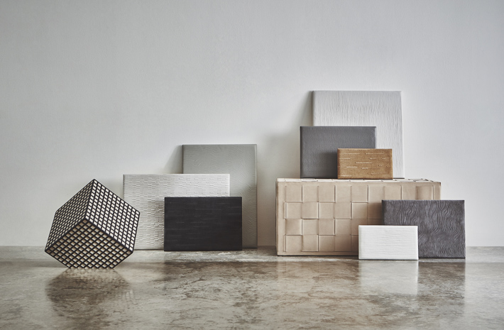 designer home decor The Perfect Neutrals collection by Kelly Hoppen for luxury leather brand Pavoni