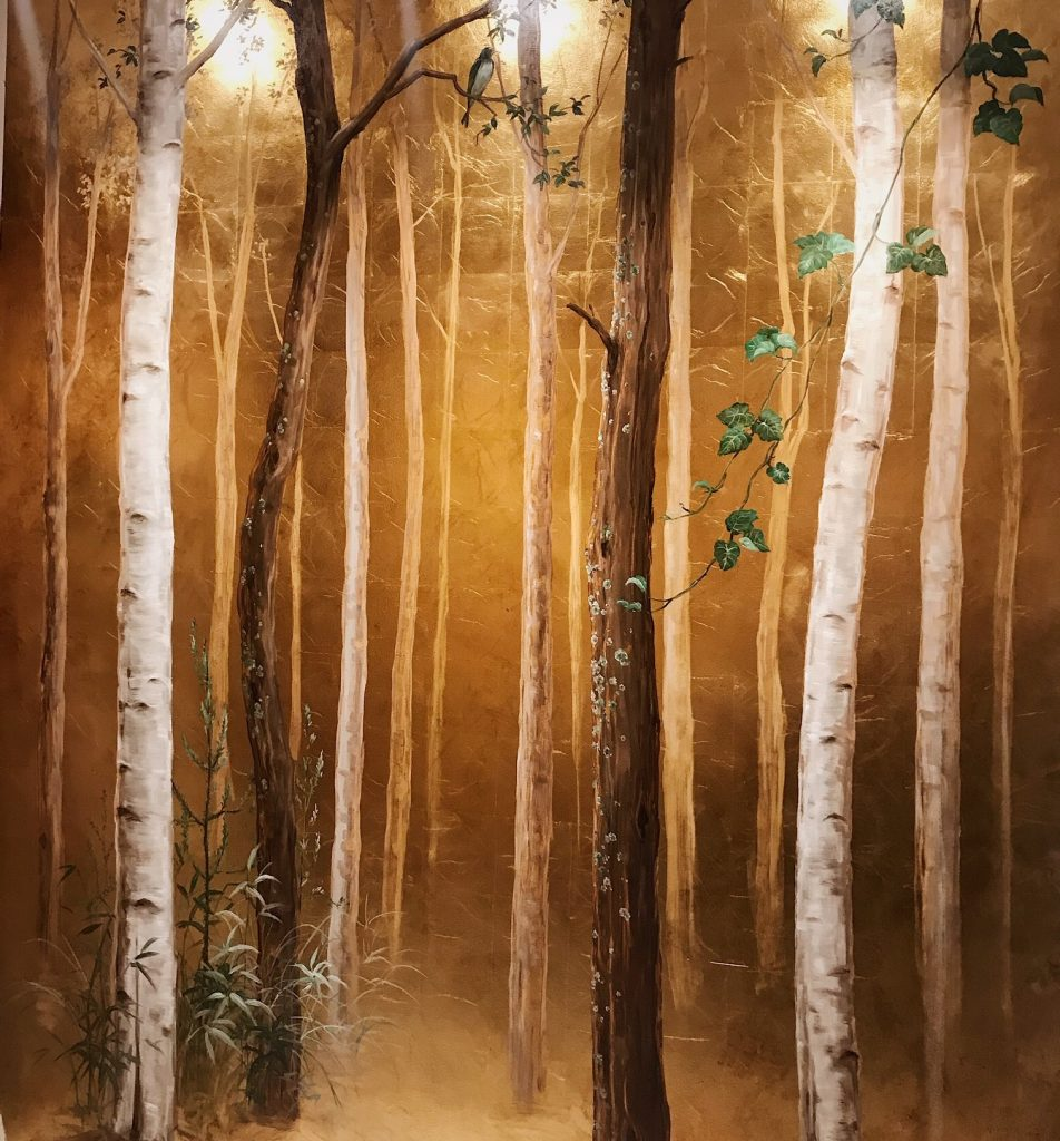 nature inspired Wall painting with gold leaf and birch trees by spanish muralist
