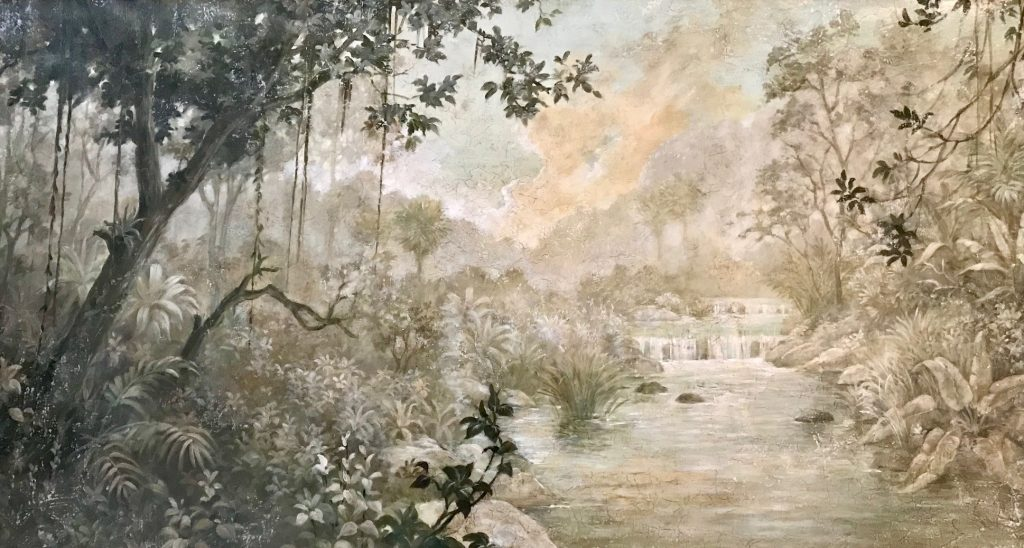 majestic Mural of a river in the forest with a small waterfall