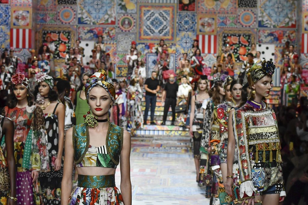 Fashion designers Domenico Dolce and Stefano Gabbana walk the runway at the Dolce & Gabbana Ready to Wear Spring/Summer 2021 fashion show during the Milan Women's Fashion Week on September 23, 2020 in Milan, Italy. (Photo by Victor VIRGILE/Gamma-Rapho via Getty Images)