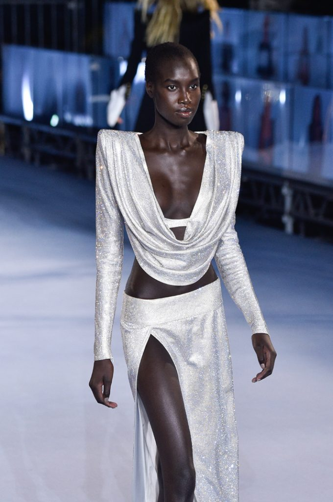 ss21 runway looks - A model walks the runway during the Balmain Womenswear Spring/Summer 2021 show as part of Paris Fashion Week on September 30, 2020 in Paris, France. (Photo by Peter White/Getty Images)