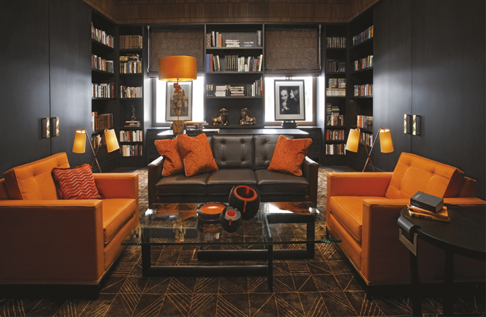 orange and brown library interior design