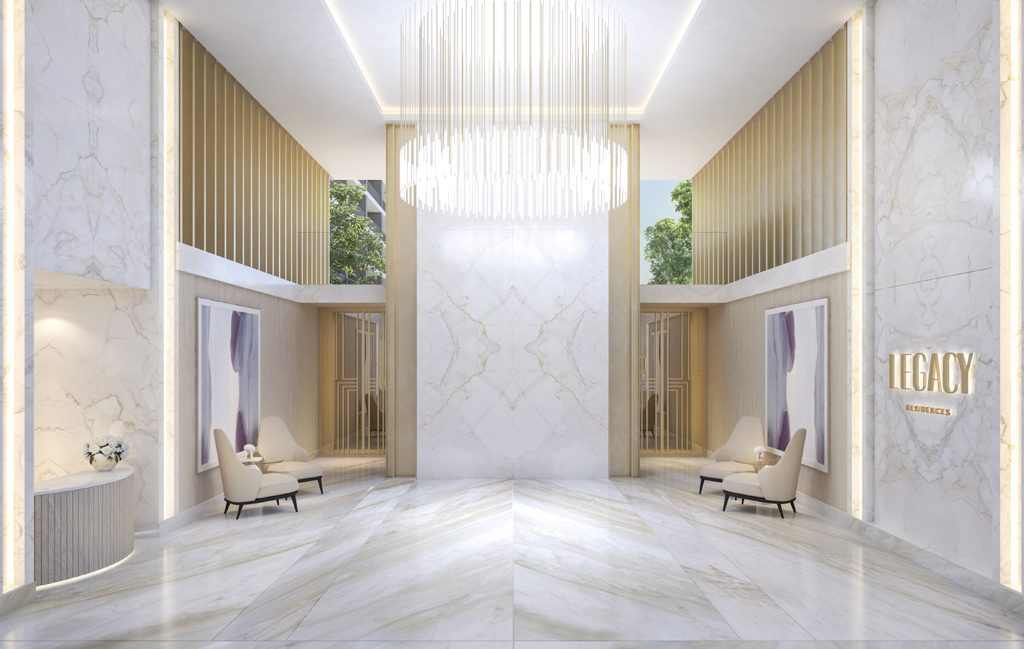 Legacy residences lobby designed by ines gavinho architecture and interiors