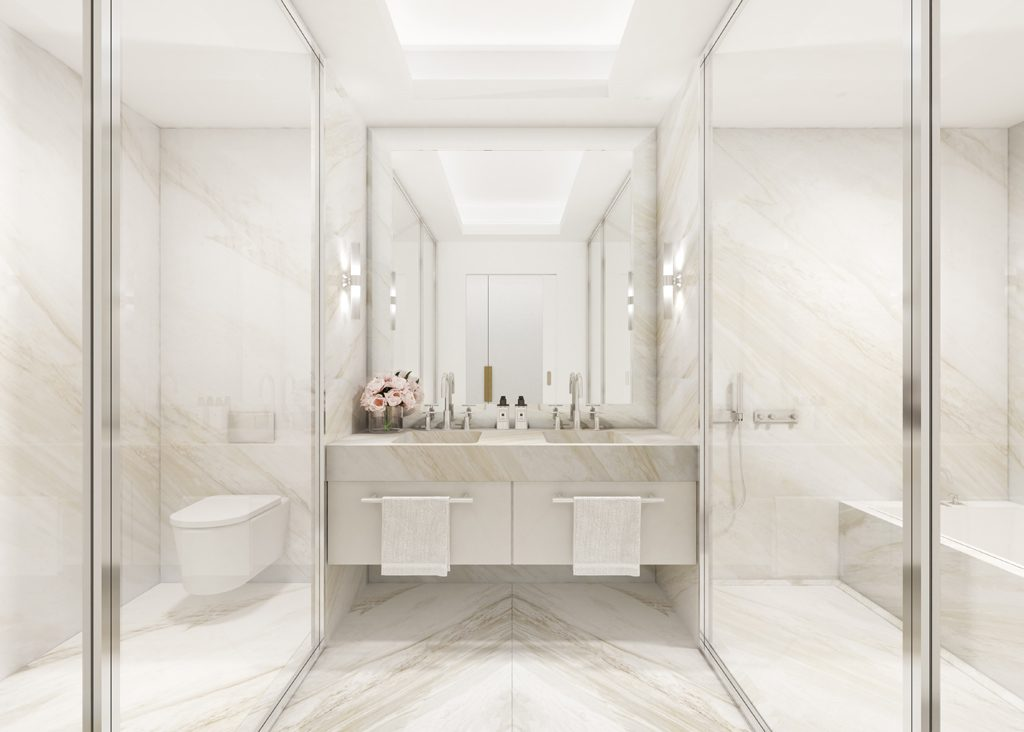 white marble Master suite bathroom at Legacy