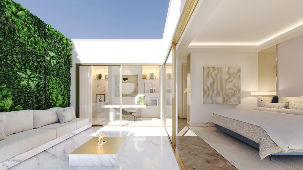 The outdoor patio of one of the townhouses at Legacy designed by ines gavinho