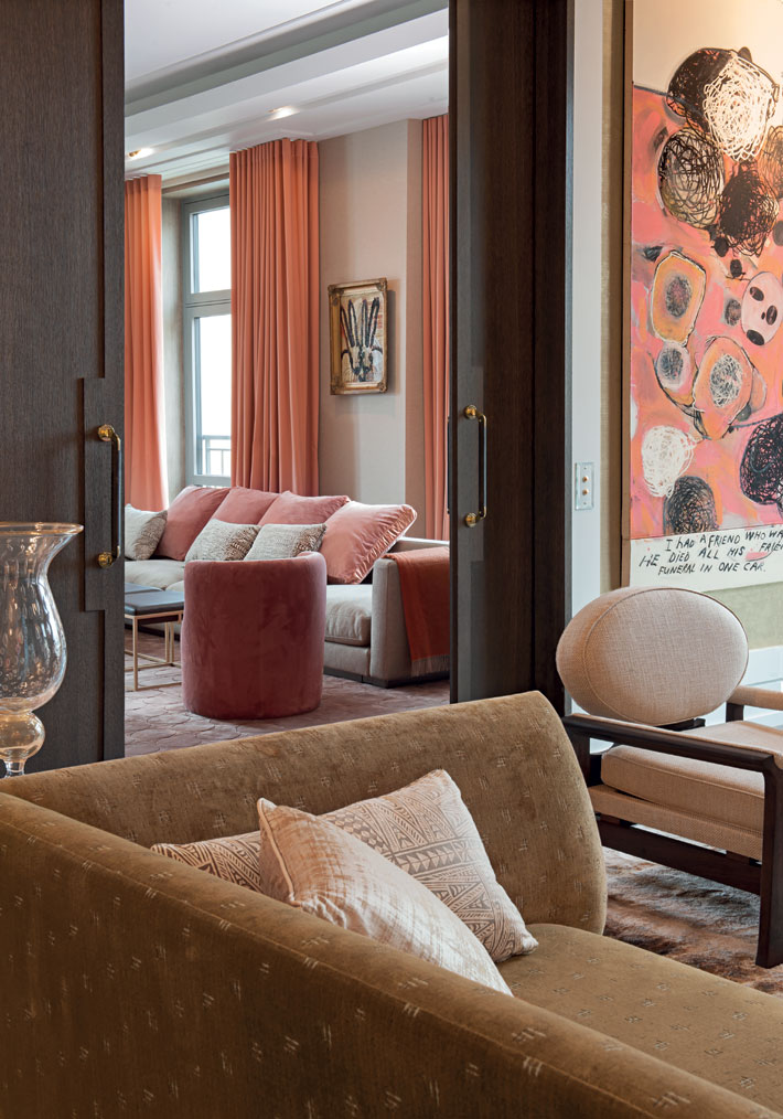 peach and gold living room design by kate hume