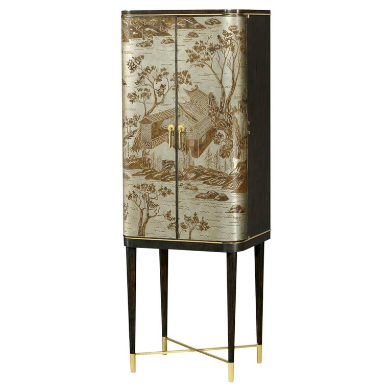 Midcentury Style Bar Cabinet Inspired by the Works of Art of Philip and Kelvin LaVerne