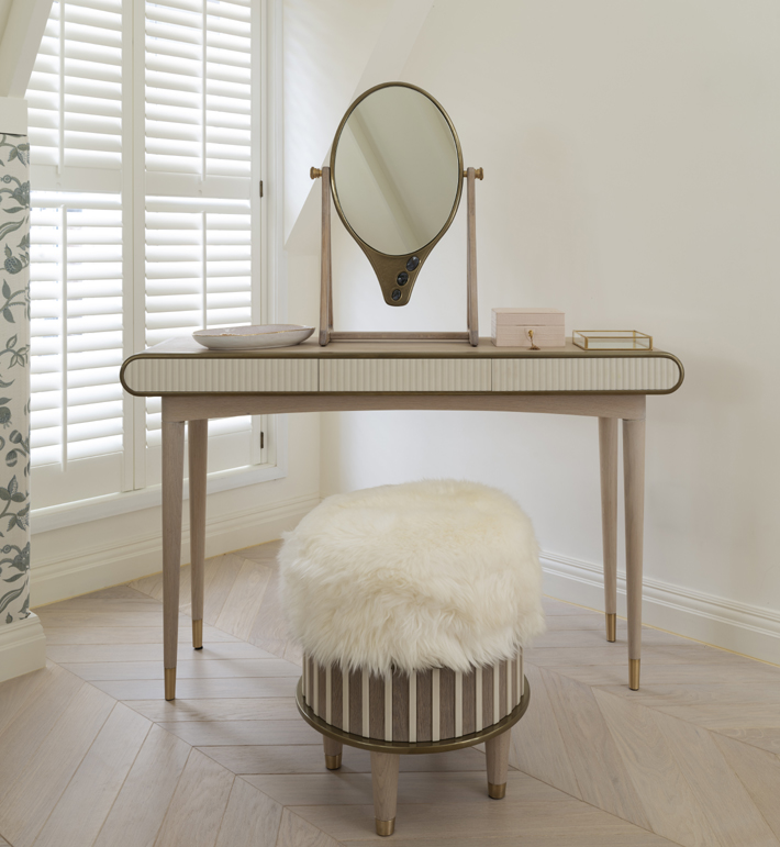 Oriette vanity table and Bisi stool by Felice James designer home decor