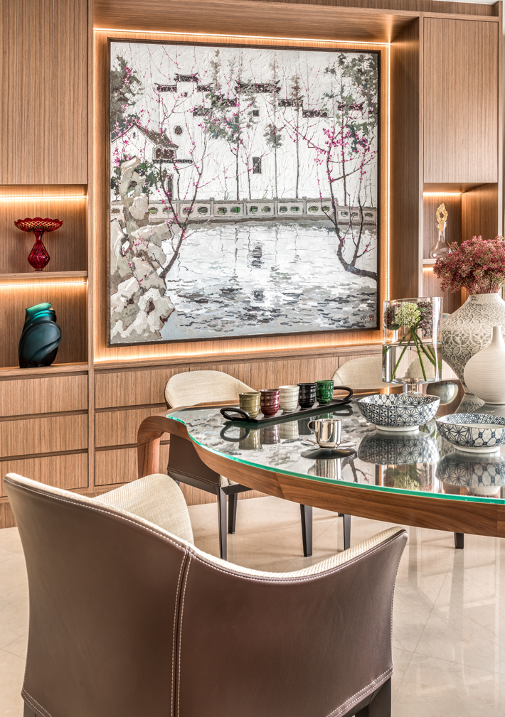 luxury dining room design with wood details and personal accessories by michael ong and jeremy tay