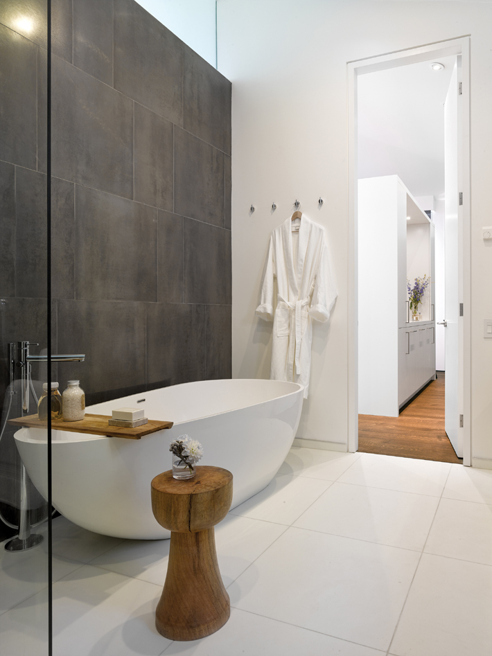 lagom Master bath design by Paul Raff Studio. (Photo by Ben Rahn / A-Frame Studio)