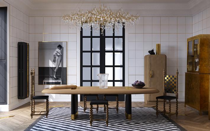 luxurious black white and gold bespoke kitchen design