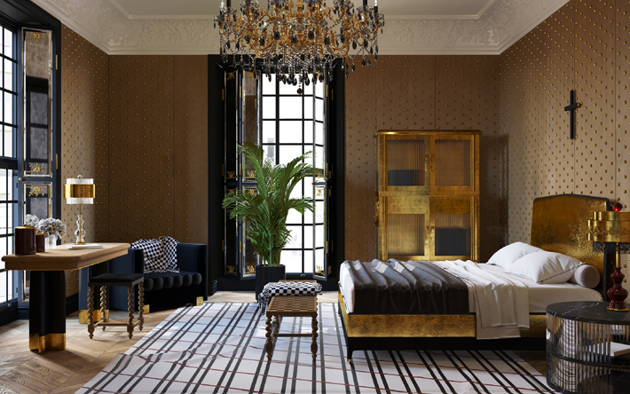 Veuve Clicquot Interior by Yuriy Zimenko - luxurious black and gold bedroom design