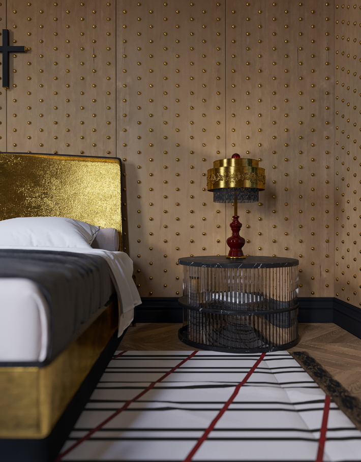 luxurious black and gold bedroom design with gold bed frame