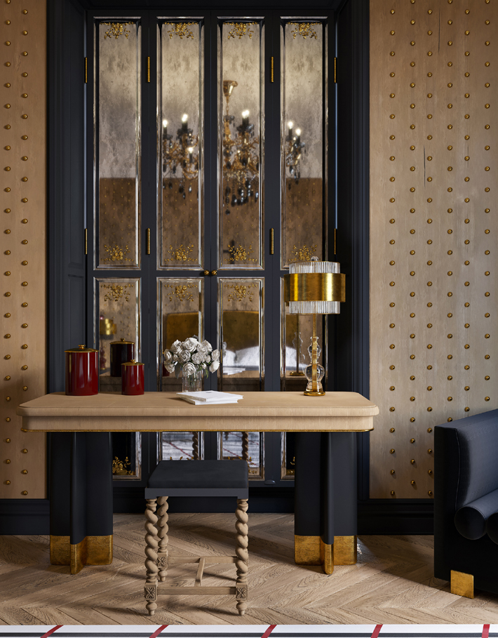 Veuve Clicquot Interior by Yuriy Zimenko - luxurious black and gold bedroom design with button wallpaper - home office design